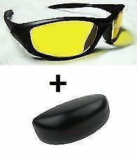 Night Driving Vision Anti Glare Yellow Lens Sunglasses Goggles Sun Glasses case