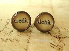 Vintage Style Debit and Credit Cuff Links 16mm ,Accounting,Mens Accessories