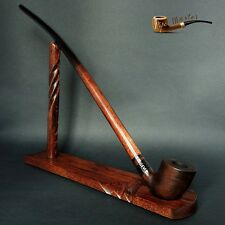 "TOBACCO SMOKING PIPE + STAND  Gandalf  Hobbit CHURCHWARDEN LONG 14""   Brown MATT"