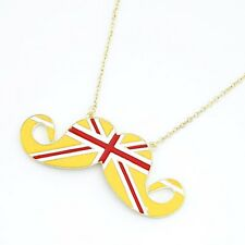 yellow Fashion British Flag of the United Kingdom Beard Mustache Necklace lovely