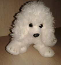 Yomiko Classics Paix White Poodle Puppy Dog Plush Beanie Laying Russ Berrie