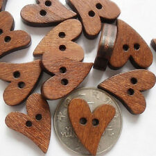 50pcs Heart Shape Brown Wooden Button Sewing Clothing Accessories Scrapbook DIY