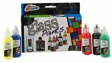 SET 5 GLASS ART PAINTS DEEP FAST DRY COLOURS RED BLUE GREEN YELLOW BLACK 16-0518