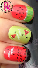 NAIL ART WRAP WATER TRANSFER DECALS JUICY FRUIT WATERMELON & SILVER GLITTTER #2