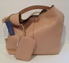 REBECCA MINKOFF Unlined Apricot Leather Studded Hobo with Pouch Handbag   NEW