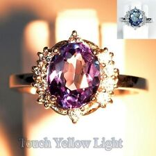 2.6 CT COLOR CHANGE ALEXANDRITE OVAL FACET SILVER 925 COCKTAIL RING SIZE 6.5