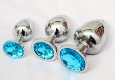 3x Butt Toy Plug Insert Anal Stainless Steel Crysrtal Sexy Stopper Light Blue