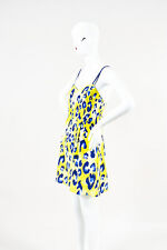 Matthew Williamson Yellow Blue White Silk Leopard Printed Sleeveless Dress SZ 8