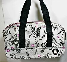HARAJUKU LOVERS SKETCH PRINT DUFFLE BAG CANVAS HANDBAG DOME SATCHEL ZIP TOP