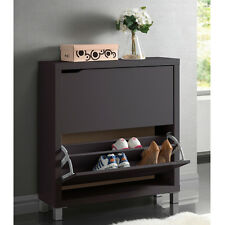 Shoe Cabinet Organizer Double Storage Stand Dresser Wood Closet Hide Away Box