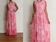 vtg Pink CHIFFON WATERCOLOR FLORAL GARDEN PARTY GLAM MAXI Dress S