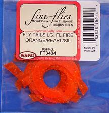Fly Tails large Wapsi EE. UU. de silicona 10 piezas fluo Fire naranja/Pearl/Silver