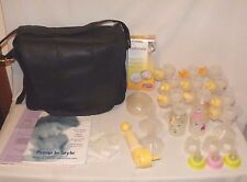 MEDELA Breast Pump 8P91 Shoulder Bag black with many extras/accessories