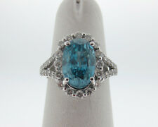 Fine Estate 5.78cts Natural Blue Zircon Diamonds Solid 18k White Gold Halo Ring