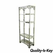 "76"" Vintage Mid Century Modern Chrome Glass Etagere Bookcase after Milo Baughman"