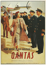 QANTAS 1950s TRAVEL VINTAGE REPRO NEW A2 CANVAS GICLEE ART PRINT POSTER
