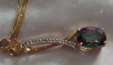 14KT BEAUTIFUL MISTIC TOPAZ & DIAMOND PENDANT /NECKLACE