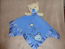 Bear Blankie Carters Classic Blue Baby Plush Fleece Satin Lovey Security Blanket