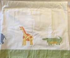 Pottery Barn Kids White And Light Green Animal Print Valance 100% Cotton