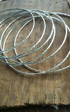 Pair of 925 Sterling Silver Hammered Bangles 2 x Handmade Solid 1.5mm Bracelets
