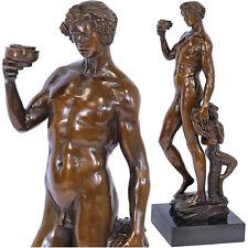 BRONZE AKTFIGUR BACCHUS-ALLEGORIE ca.58cm SKULPTUR nackter MANN + kleiner FAUN