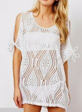 bikini swimwear beachwear cover up beach white mini crochet mesh dress