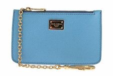 NWT $360 DOLCE & GABBANA Blue Leather Zipper Clutch Hand Bag Purse Lobster Clasp