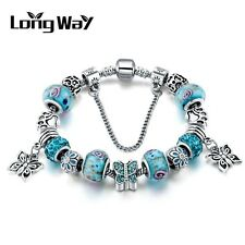 Silver Glass Beads Bracelet With Blue Crystal European Charms Fit Women Q