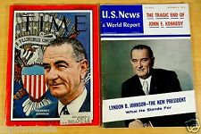 2 Magazines LYNDON JOHNSON & KENNEDY ASSASSINATION Nov 1963 TIME Dec U.S. NEWS