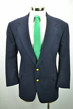 (44S) Vintage Men's Navy Blue Golden Button Wool Blend Sport Coat Blazer Jacket