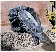 Mythological Sir Gawain's Fierce Expression Massive Dragon Head Wall Statue