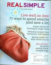 2009 Real Simple Magazine: Live Well on Less/Spend Smarter/Warehouse-Club Foods