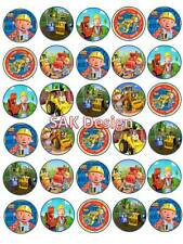30 X Bob The Builder Cup Cake Toppers On Edible Wafer/Rice Paper