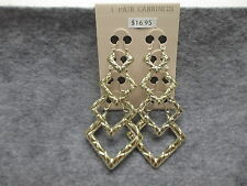4 Pair Fashion Earrings Shiny Gold Tone Square Hoop Earrings w/Woven Like Design