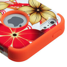 for iPhone 5 5S - Orange Flowers Hybrid Armor Dual Layer Hard & Soft Rubber Case