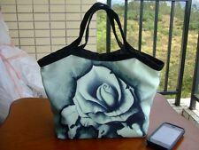COOL ROSE FLOWER CANVAS WOMAN HANDBAG & BAG PURSE LUNCH TOTE FOR GIRL KIDS LADY