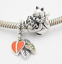SQUIRREL with NUT 2 CHARMS Beads SET Sterling Silver.925 for European Bracelet