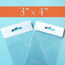 """200 Clear Cello Bags,3 x 4 Inch HANG TOP, Resealable Adhesive,3x4"""" Poly, 1.8 mil"""