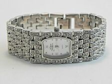 Suzanne Somers Wrist Watch-New Battery-MOP Dial-Clear Rhinestone Decoration