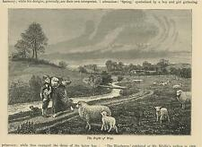 ANTIQUE COUNTRY WOMAN MOTHER CHILD SHEEP LAMB DOG RIGHT OF WAY OLD ART PRINT
