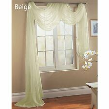 """Empire Home Solid Sheer Window Voile Scarf Valance 216"""" Long Scarves Bone Beige"""