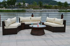 Curved 6 Seat Outdoor Wicker PE Rattan Sofa Lounger Patio Furniture Set  CREAM