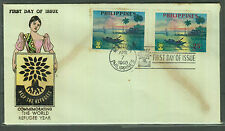 Philippine Stamps 1960 World Refugee Year (Sunset at Manila Bay) FDC