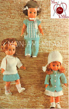 """Knitting Pattern Copy DOLLS CLOTHES JACKET TUNIC TROUSERS SKIRT JUMPER HAT 14"""""""