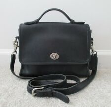 COACH VTG Black Natural Glove-Tanned Leather Court Turnlock Flap Crossbody #9870