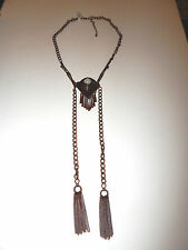 FREE PEOPLE NECKLACE COPPER METAL WHITE BEAD TASSELS CHAINS BRAND NEW #520