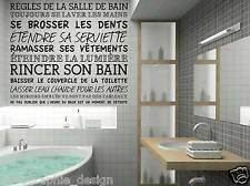 Wall Story REGLES DE LA SALLE DE BAIN Quote lettering words custom