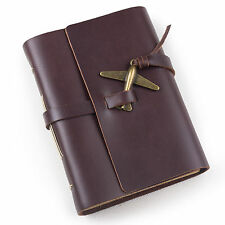 Ancicraft Leather Journal with Retro Airplane A6 Lined Paper Unique Gift Travel