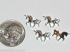 2pc miniature dollhouse tiny little fairy dust unicorns floating flat back 10mm