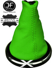 LIME GREEN GENUINE ITALIAN LEATHER GEAR GAITER FOR FORD FIESTA MK6 FUSION 02- 08